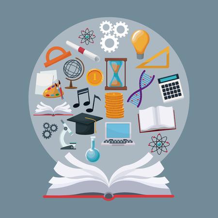 Fondo de color libro abierto con iconos de frontera circular conocimiento académico vectorial ilustración Ilustración de vector