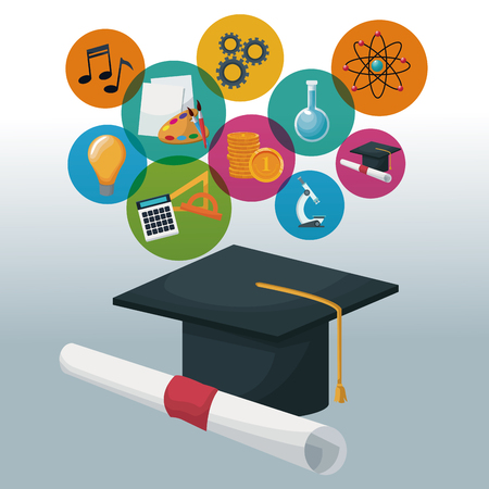 graduation cap and certificate with bubbles icons academic knowledge vector illustration Çizim