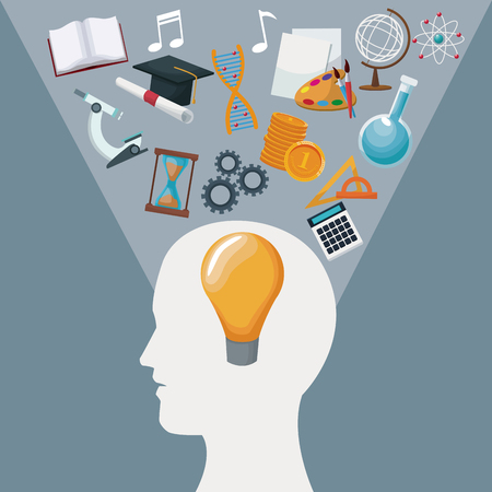 color background human head with solution idea inside and light halo icons knowledge vector illustration Stock Illustratie
