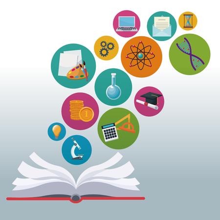 libro abierto de fondo de color con iconos de burbujas ilustración de vector de conocimiento académico