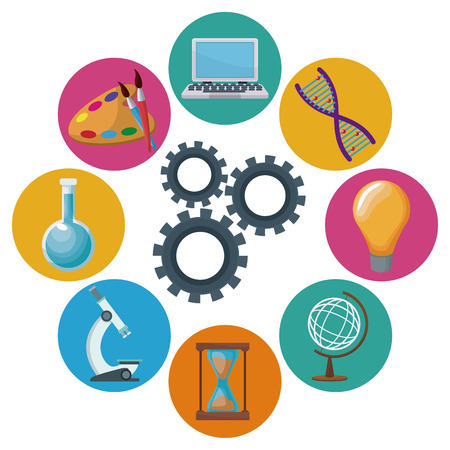 color background mechanism gears with icons academic knowledge around vector illustration