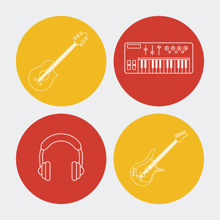 earbud: white background with colorful round frames with musical instruments and earphones vector illustration