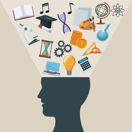 kleur achtergrond zijaanzicht silhouet hoofd mens met licht halo pictogrammen academische kennis vectorillustratie