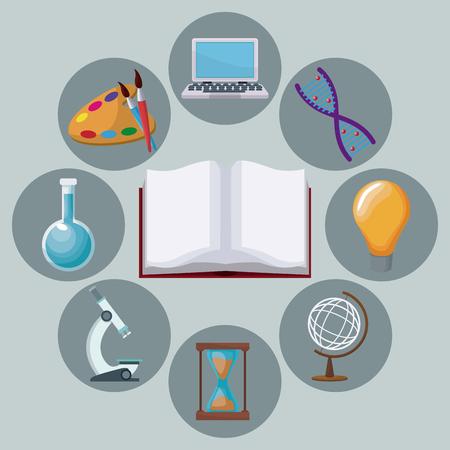 kleur achtergrond open boek met pictogrammen academische kennis rond vectorillustratie Stock Illustratie