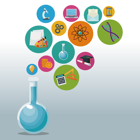 glass beaker for laboratory with bubbles icons academic knowledge vector illustration 向量圖像