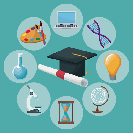color background graduation cap and certificate with icons academic knowledge around vector illustration