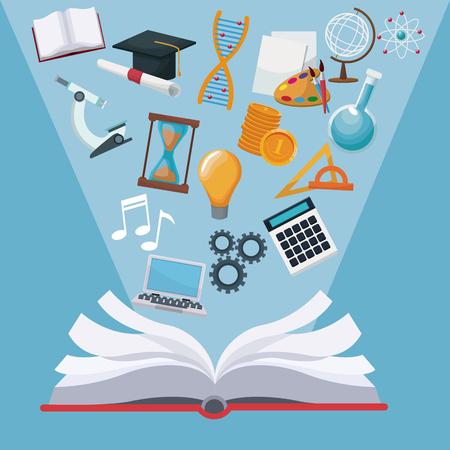 color de fondo abierto libro con luz halo iconos conocimiento académico ilustración vectorial
