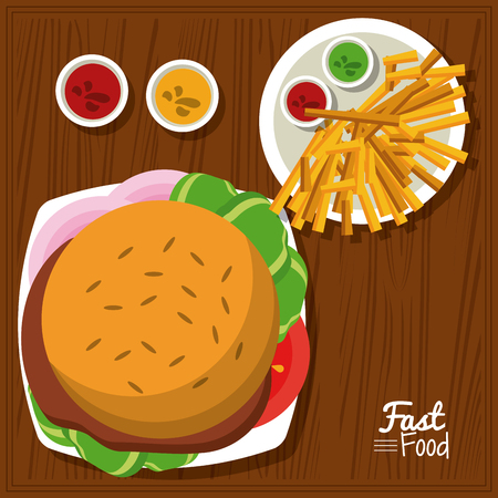 poster fast food in kitchen table background with burger and sauces and fries vector illustration Illustration