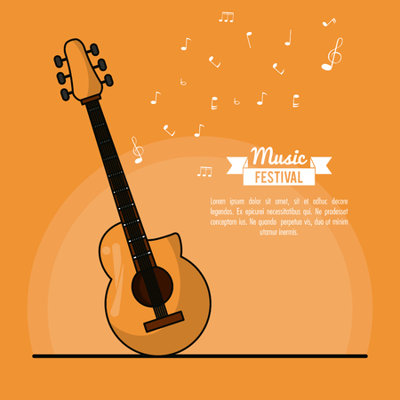 poster music festival in orange background with acoustic guitar vector illustration
