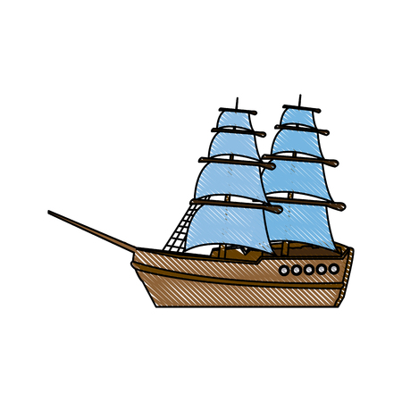 vintage sailing ship travel adventure nautical vector illustration