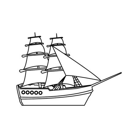 vintage sailing ship travel adventure nautical vector illustration