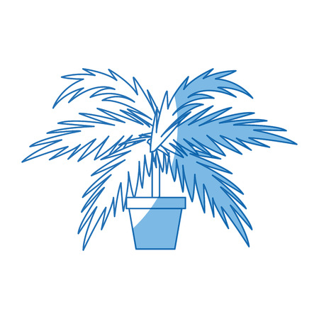 potted palm tree plant natural decoration interior vector illustration Illustration