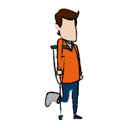 pé de homem dos desenhos animados com deficiência de gesso médico andando de muletas