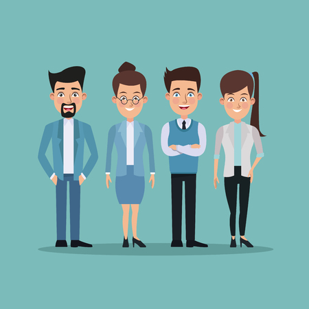 for men: color background full body pair of women and men characters for business vector illustration