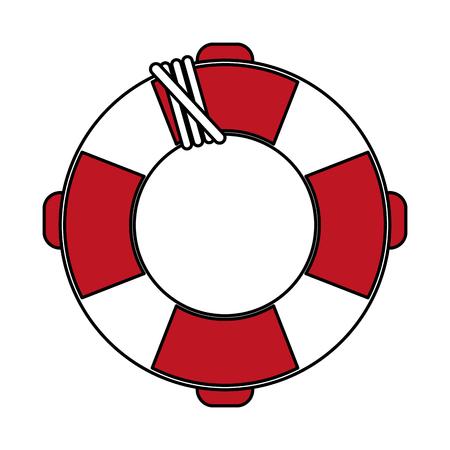 Flat line lifesaver over white background vector illustration Illustration