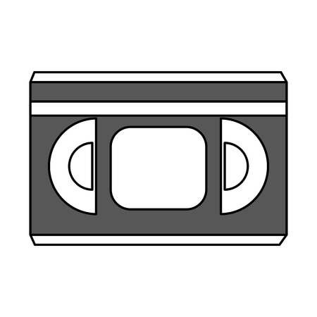 videocassette: Flat line video tape over white background vector illustration
