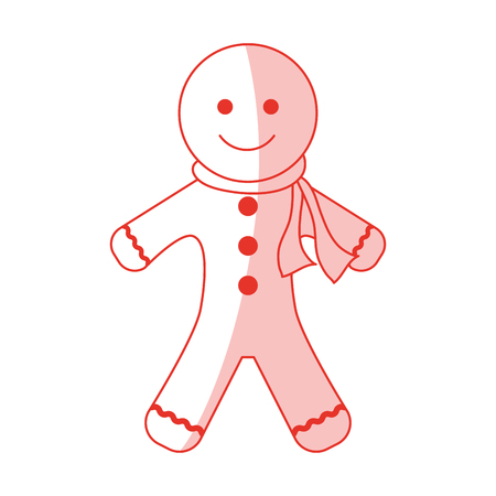 gingerbread man: Flat line monocromatic gingerbread man over white background vector illustration Illustration