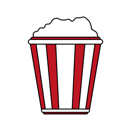 pop corn: Flat line popcorn over white background vector illustration