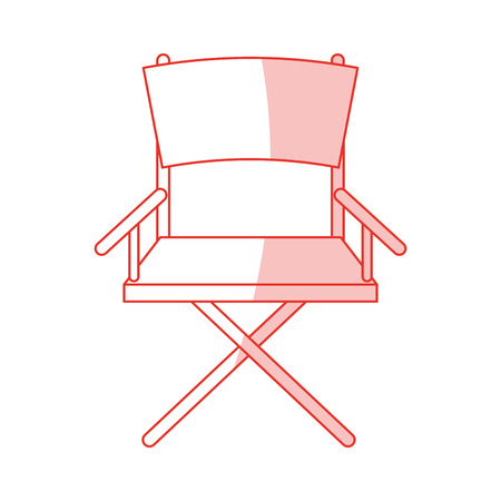 director chair: Flat line monocromatic directors chair over white background vector illustration