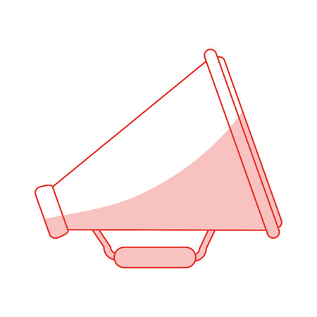 loud speaker: Flat line monocromatic megaphone over white background vector illustration