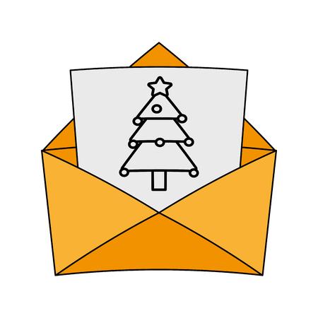 Envelope with christmas letter over white background vector illustration
