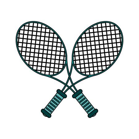 titanium: Teal rackets over white background vector illustration