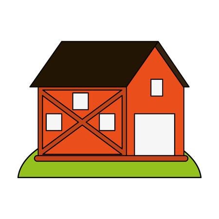 Orange barn over white background vector illustration