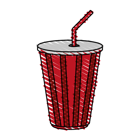 soda cup doodle over white background vector illustration