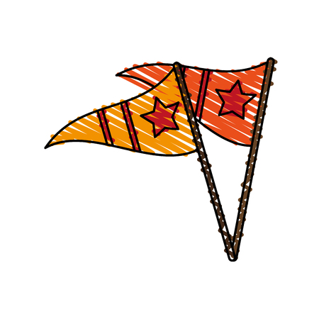 flag: pennant doodle over white background vector illustration