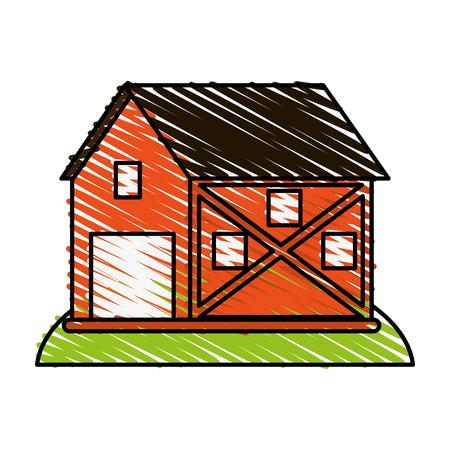 barn wood: Orange barn doodle over white background vector illustration