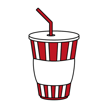 carbonated beverage: Flat line soda cup over white background vector illustration