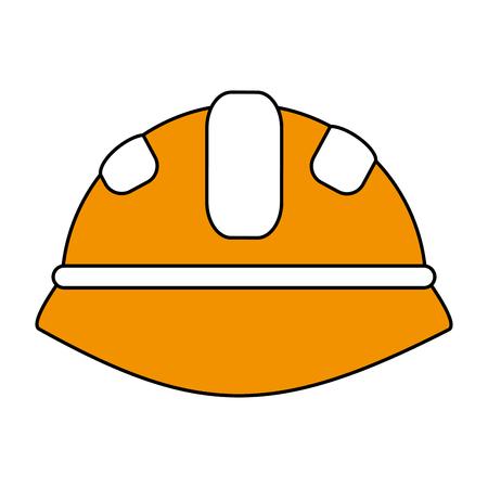 Flat line construction helmet over white background vector illustration
