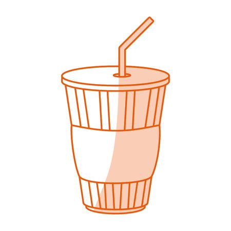 Flat line monocromatic soda cup Illustration
