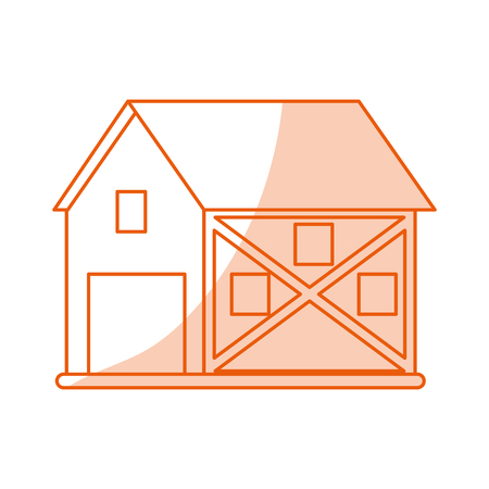 shed: Flat line monocromatic barn over white background vector illustration