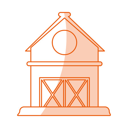 weathered: Flat line monocromatic barn over white background vector illustration
