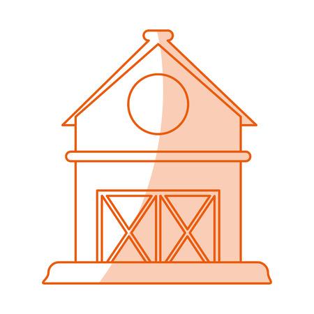 barn wood: Flat line monocromatic barn over white background vector illustration