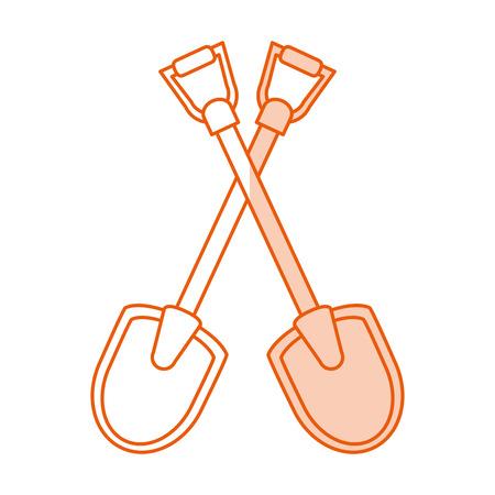 steel: Flat line monocromatic shovels over white background vector illustration