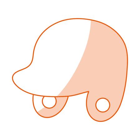Flat line monocromatic helmet over white background vector illustration