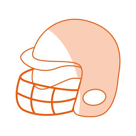 Flat line monocromatic football helmet over white background vector illustration Illustration