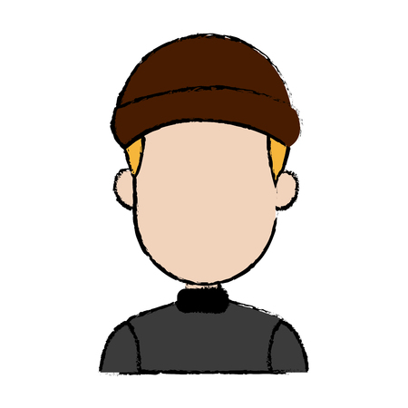 cybercrime: hacker character portrait thief technology image image vector illustration Illustration
