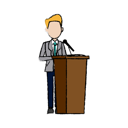 tribune: Politician man standing behind rostrum and giving a speech. Vector illustration