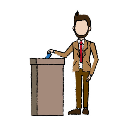 man in a suit businessman putting paper in the ballot box vector illustration