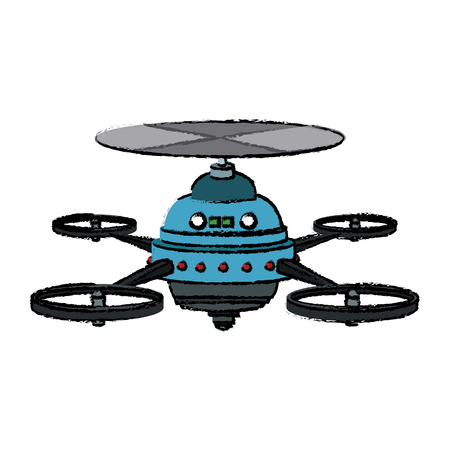 front view: drone with action camera front view vector isolated sign
