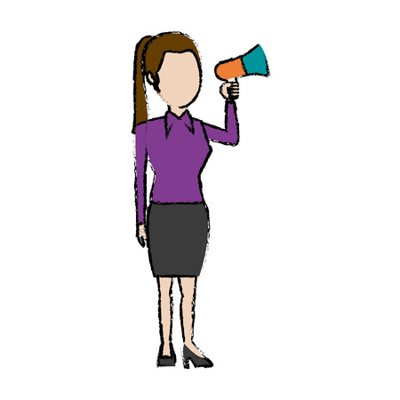 activist: politician woman holds megaphone advertising vector illustration
