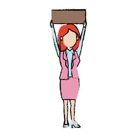 A cartoon woman holding placard election voting vector illustration. Illustration