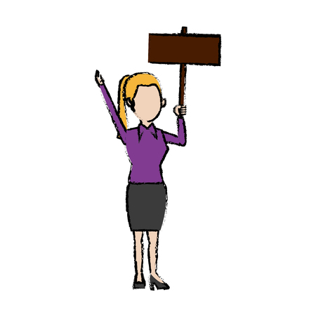 cartoon woman holding placard election voting vector illustration Vettoriali