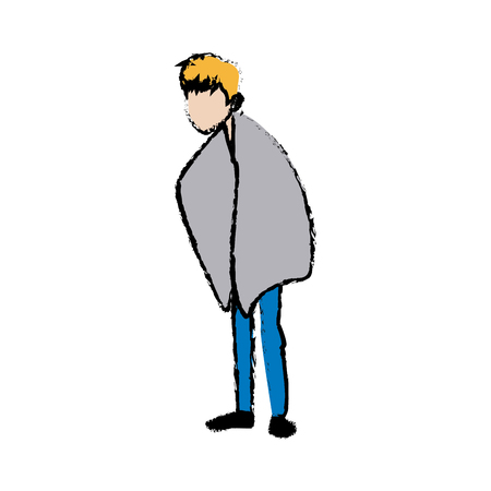 sick man unhappy character healthcare cartoon vector illustration