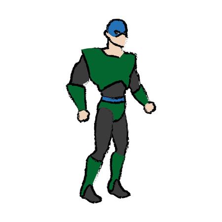 protectors: cartoon superhero wearing suit standing heroic friendly vector illustration