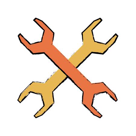 metal steel spanner tool support vector illustration