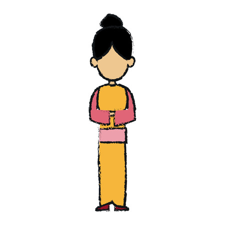 japanese woman in kimono traditional culture vector illustration Illustration